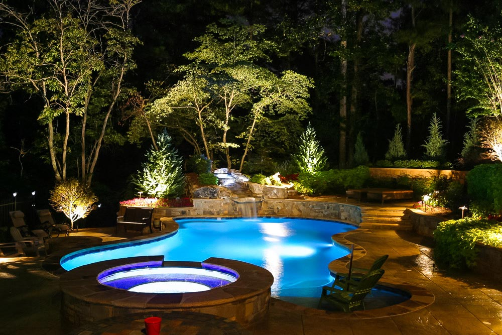 spa swimming pool at night